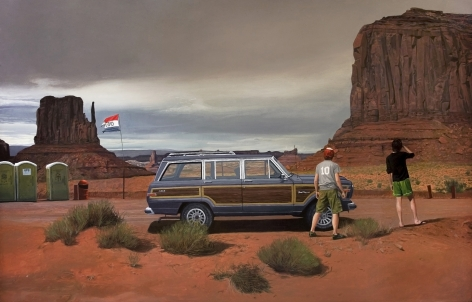 ALEX ROULETTE Monumental Road 2009, oil on panel, 32 x 50 inches.