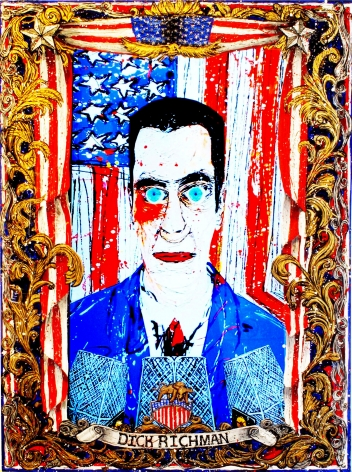 FEDERICO SOLMI  Dick Richman Wall Street Tycoon (video still)  2014, video painting, acrylic paint on plexiglass, gold and silver leaf, 1:38 video loop, 18 x 24 inches.