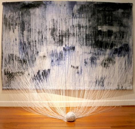 KATE FITZPATRICK  Unmoored  2018, acrylic paint, cotton thread on canvas, 6 x 9 feet