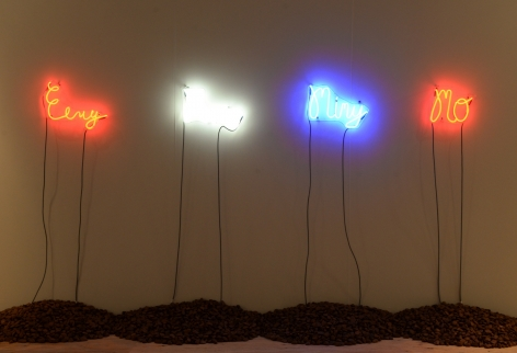 SHELDON SCOTT Eeny Meeny Miney Mo  2014, neon, Brazil Nuts, dimensions variable.
