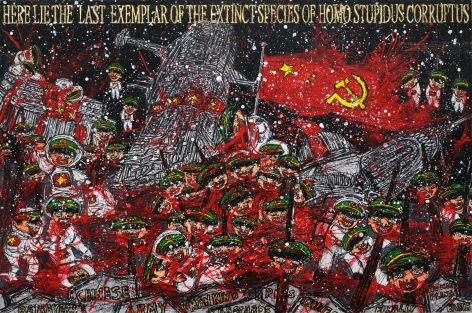 FEDERICO SOLMI Chinese Army and the End of Homo Stupidus Corruptus 2010, mixed-media on paper mounted on wood, 20 x 30 inches