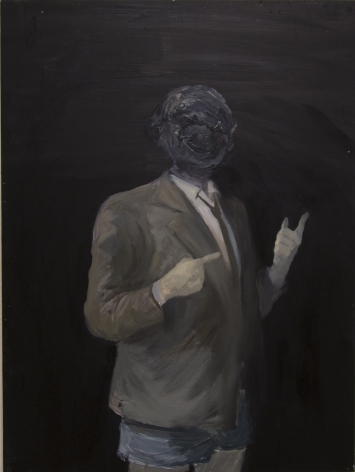 VINCENT HUI Pseudo-mathematician 2013, oil and wax on wood, 24 x 18 inches
