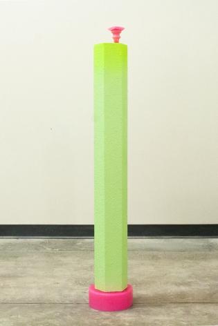 MAGALI HÉBERT-HUOT  Untitled (MarbleGreen) 2014, MDF, stucco, wax, 11 x 11 x 58 inches.