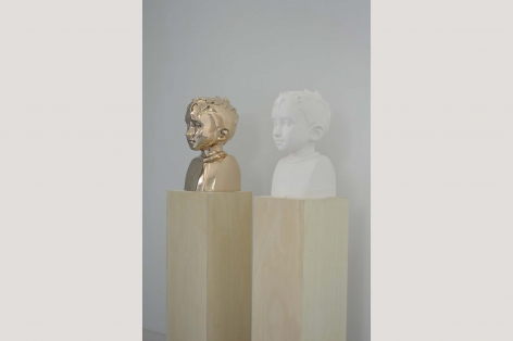 KENNY HUNTER Two Identical Forms plaster, bronze, and plywood sculpture