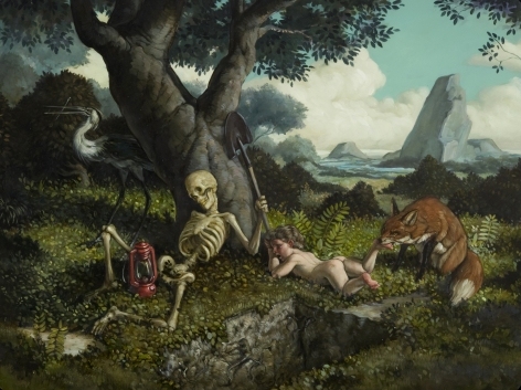 ERIK THOR SANDBERG Once in Future (triptych, right panel) 2010, oil on panel, triptych: 11.5 x 15 inches