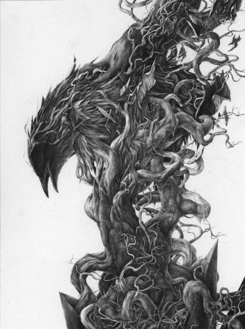 JOSH CHANCE Emerge 2012, graphite on Fabriano, 12.5 x 9.5 inches.