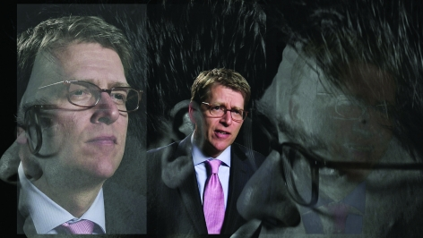 LINCOLN SCHATZ The Network (Jay Carney) 2012, face-mounted pigment print, 16.75 x 30 inches