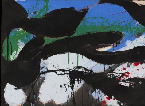 Norman Bluhm  Untitled  1974, acrylic on board, 23 x 31 inches.