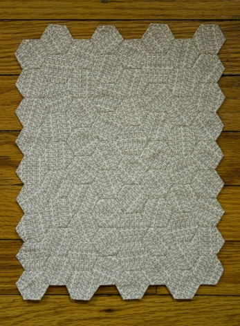 ARIEL POND  Everything Will Be Ok (Hexagons #4) 2015, unbleached muslin, ink, white thread, 8.5 x 11 inches.