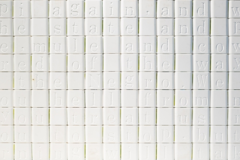 WILMER WILSON IV Measures Not Men detail, 2017, salt blocks, aluminum, wood, 8 x 20 x 6.25 feet
