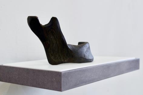 BENJAMIN KELLEY  Untitled 03  2019, Valcromat, vinyl, carved ancient bog oak (human mandible).