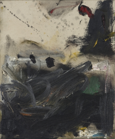 Gene Davis  Black Turmoil  1957, acrylic on canvas, 12 x 10 inches.