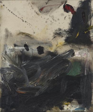 Gene Davis  Black Turmoil  1957, acrylic on canvas, 12 x 10 inches.