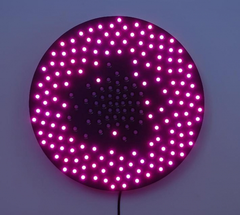 LEO VILLAREAL  Little Bang 2008, 200 light emitting diodes, microcontroller, circuitry and anodized aluminum, 24 inches (diameter)