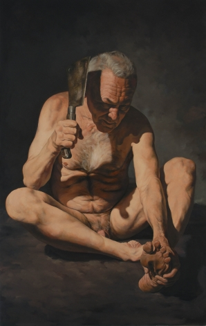 ERIK THOR SANDBERG  Blinded  2006, oil on canvas, 99 x 62 inches.