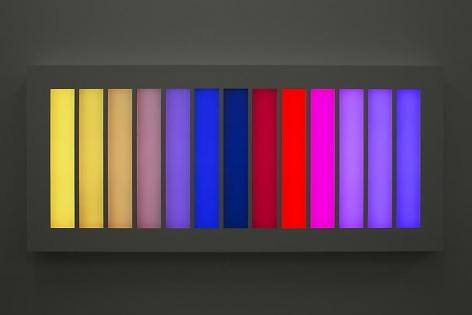 LEO VILLAREAL Coded Spectrum  2012, light emitting diodes, mac mini, custom software, circuitry, powder-coated aluminum, plexiglas, 46 x 103.25 x 6 inches