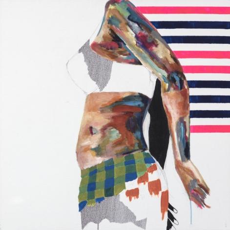 Jessica Maria Hopkins  December 12  2019, acrylic, ballpoint pen on canvas, 30 x 30 inches.