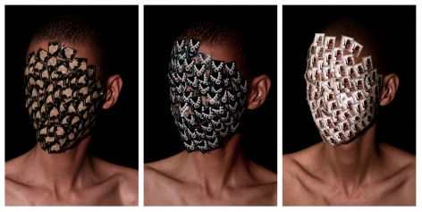 WILMER WILSON IV  Henry Box Brown: Heads (1¢, 2¢, 5¢ triptych)  2012, archival pigment prints, 23 x 15 inches each