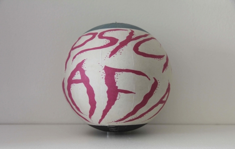 SUSAN MACWILLIAM  The Psychic Mafia  2013/2014, inkjet paper, plastic sphere, 6 x 6 x 6 inches