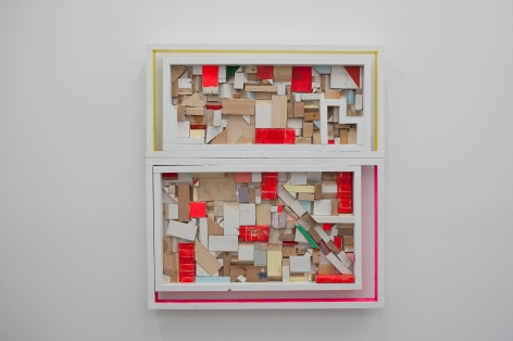 CORDY RYMAN Window Scrapbox 2010, mixed media studio scraps, acrylic and enamel on wood, 58 x 52 x 3.5 inches