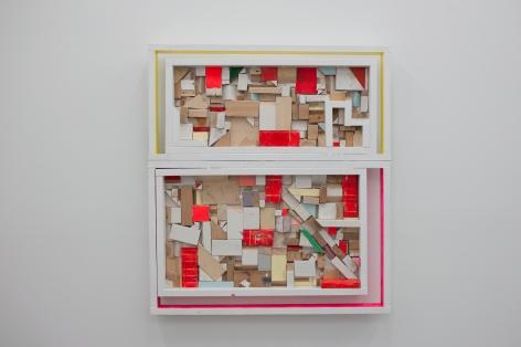 CORDY RYMAN Window Scrapbox 2010, mixed media studio scraps, acrylic and enamel on wood, 58 x 52 x 3.5 inches
