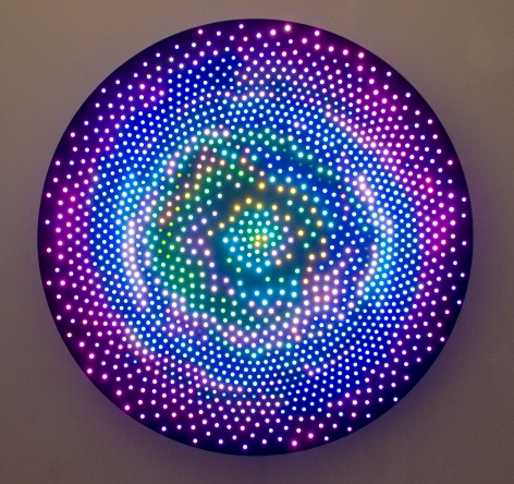 LEO VILLAREAL Big Bang 2008, 1600 light emitting diodes, mac mini, circuitry and anodized aluminum, 60 inches (diameter)