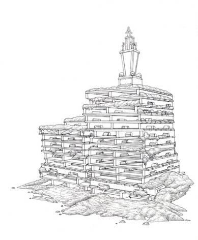 TAYLOR BALDWIN Pallet Stack 2009, ink on paper, 12 x 12 inches.