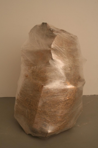 BRIAN SYKES Boulder 2006, saran wrap, wood and straw bale, 24 x 24 x 40 inches.