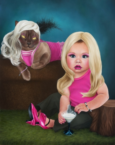 KATIE MILLER Portrait of Frau Kitty Meow Meow and Her Styled Child 2012, oil on panel, 20 x 16 inches