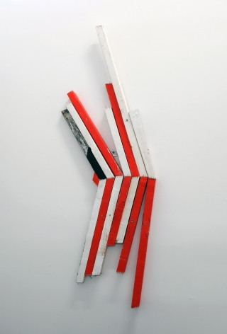 CORDY RYMAN Reverse Scrap K 2010, acrylic and enamel on wood, 57 x 22 inches