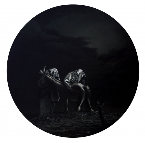 JOHN STARK The Time Keepers 2010, oil on panel, 20 inches (diameter)