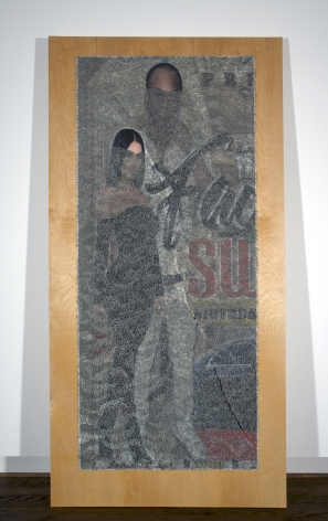 Wilmer Wilson IV PRE su 2018, staples and pigment print on wood, 96 x 48 x 1.5 inches