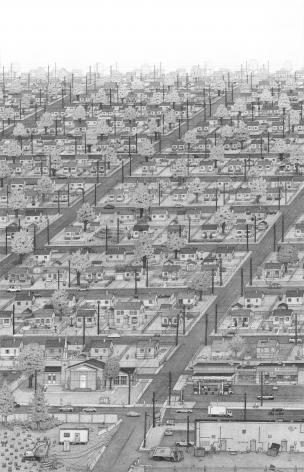 BEN TOLMAN Suburbs 2012, ink on paper, 78 x 50 inches