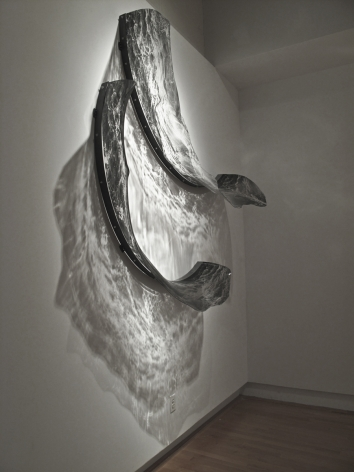 ADAM NELSON Alluvion 2012, PETG plastic, screen printed imagery, steel, light, 78 x 78 x 20 inches