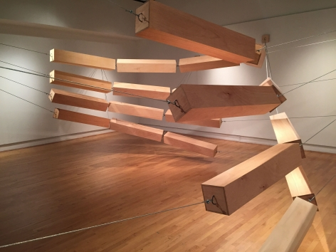 ROB HACKETT Median 2015, plywood, steel cable, cable clamps, dimensions variable.