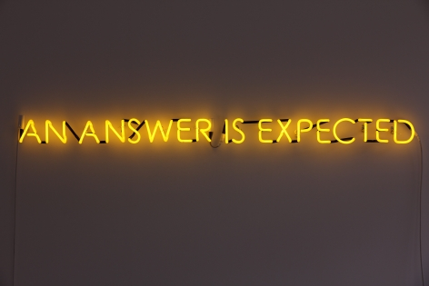 Susan MacWilliam  An Answer Is Expected  2013/20, yellow gold neon, 4 x 62 inches, ed: 3 + 2AP.