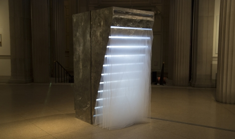 NOAH MCWILLIAMS  Between Fires  2017, steel, pipe insulation, 3D lenticular image, tulle, 78 x 36 x 24 inches