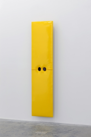 JOE OVELMAN Self Portrait Yellow Vinyl 2011, reclaimed wood, vinyl, plastic, 68 x 17 x 5 inches.