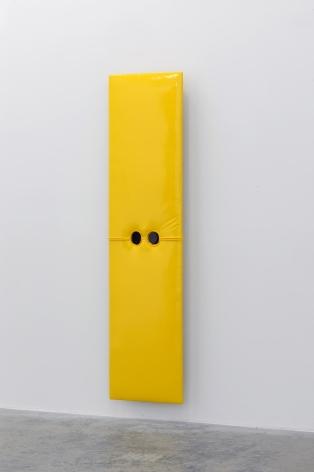 Joe Ovelman_Self Portrait Yellow Vinyl reclaimed wood, vinyl, plastic, 68 x 17 x 5 inches