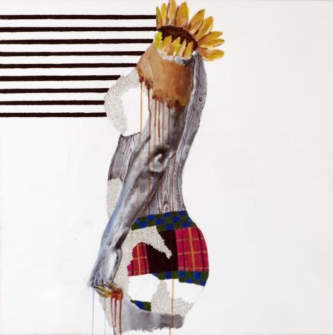 Jessica Maria Hopkins  October 16  2019, acrylic, ballpoint pen, graphite on canvas, 30 x 30 inches.