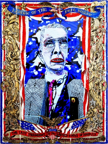 FEDERICO SOLMI  The Last President of the United States of America (video still)  2014, video painting, acrylic paint on plexiglass, gold and silver leaf, 2:34 video loop, 18 x 24 inches.