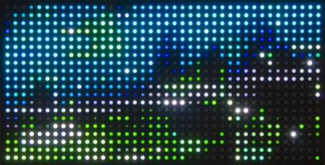 LEO VILLAREAL Dark Matrix (20 x 40) 2008, light emitting diodes, diffusers, microcontroller, circuitry, annodized aluminum, 21 x 41 x 3 inches