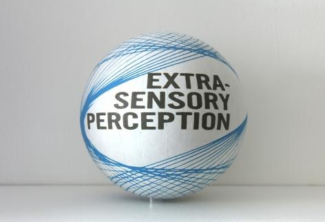 Susan MacWilliam  Extra-Sensory Perception  2013-14, inkjet paper, plastic sphere, 6 x 6 x 6 inches, unique.