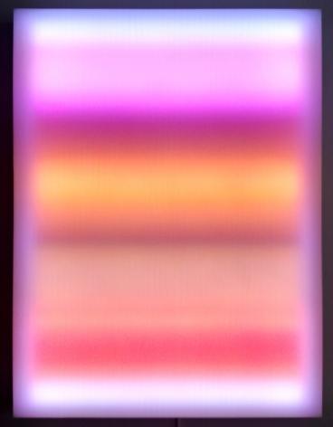 LEO VILLAREAL Liminal Gradient  2015, light emitting diodes, computer, custom software, circuitry, wood, plexiglas, 48 x 36 inches