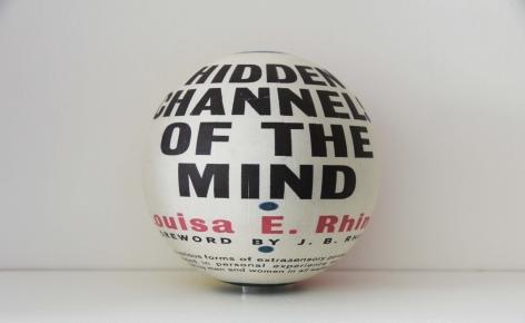 Susan MacWilliam  Hidden Channels Of The Mind  2013-14, inkjet paper, plastic sphere, 6 x 6 x 6 inches, unique.