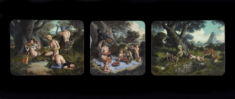 ERIK THOR SANDBERG Once in Future (triptych) 2010, oil on panel, triptych: 11.5 x 15 inches