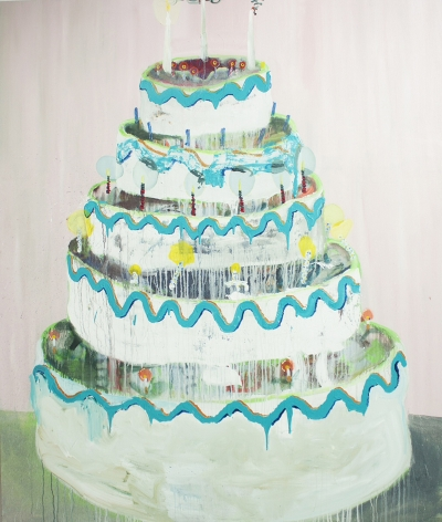 PHILIP HINGE Layer Cake 2013, acrylic on canvas, 84 x 72 inches.