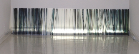 STEPHANIE KOZEMCHAK With the Turning Tide 2007-08, vitrea on plexiglas rods, 36 x 144 inches.