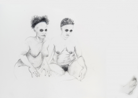 ZOË CHARLTON Cousin 7 (from Tallahassee Lassies) 2008, graphite and gouache on paper, 52 x 72 inches.