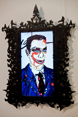 FEDERICO SOLMI Dick Richman, Portrait of a Scam Artist 2011, video-animation with artist-designed frame and LCD panel, 45 x 30 inches